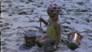 MAKING SAND CASTLE Child Beach 1960 (Vintage Old Film Home Movie Footage) 5214 Stock Footage
