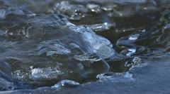Strange Ice Blobs and Formations on Freezing River Stock Footage