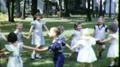 Children Play ALL FALL DOWN Game 1960s Vintage Retro Film Home Movie 5217 Stock Footage