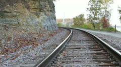 Empty train tracks - stock footage