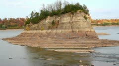 Tower Rock in Mississippi River Stock Footage