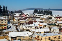 Aerial view of small village in winter, czech republic. Stock Photos