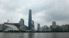 International Finance Center, IFC, Guangzhou, Haixinsha, Zhujiang New Town Stock Footage