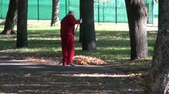 Worker raking autumn leaves in park Stock Footage