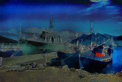 Surreal 3d illustration of boats in harbour Stock Illustration