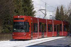 Red Tram in Innsbruck Stock Photos