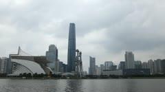 International Finance Center, IFC, Guangzhou, Haixinsha, Zhujiang New Town Stock Footage