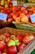 Apples in a marketplace Stock Photos