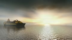 Cruise ship sailing on calm sunset seas. Stock Footage
