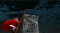Santa Claus climbing a ladder up to a chimney Stock Footage