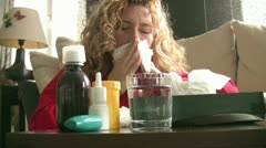 Sick women sneezing - stock footage