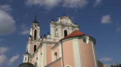 Ancient sculpture on church of St. Catherine  in Vilnius Stock Footage