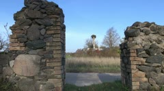 Farm  ruins after glow and white stork nest in autumn Stock Footage