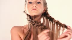 Blonde woman in  studio Stock Footage