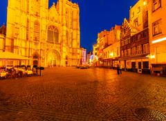 Cathedral square at night, antwerp Stock Photos