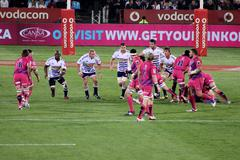 Rugby stormers forwards defensive line south africa 2012 Stock Photos