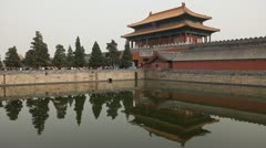 Air Pollution, Gate to Forbidden City, Center Beijing, China, Smog, Tourists Stock Footage