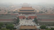 Air Pollution, Smog, Aerial View, Gate to Forbidden City, Center Beijing, China Stock Footage