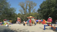 Children Playing at Playground, Family, Parents with Kids in Park, People  - stock footage