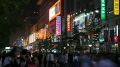 Famous Shopping Silver Street in Beijing, China, Neon Lights by night time lapse Stock Footage