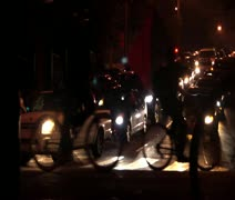 SF Critical Mass Bikes in Front of Cars Stock Footage