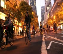 SF Critical Mass Bikers Stock Footage