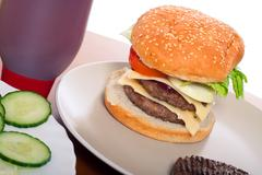 Homemade hamburger Stock Photos