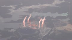 Aerial view of coal fired power plant Stock Footage