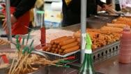 Traditional Asian Korean Food, Seoul Market, Street Food, Namdaemun Market Stock Footage