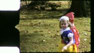 TRICK OR TREATERS Halloween Costumes 1957 (Vintage Old Film Home Movie) 5225 Stock Footage