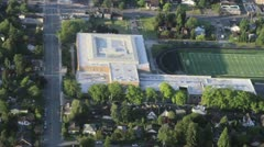 Urban Area High School and Field Overhead View Stock Footage
