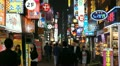 Seoul Neon Street Electronic by night, Asian Shopping, Shoppers in South Korea Footage