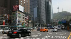 N Seoul Tower, Namsan Tower, Seoul City Center, Namsan Mountain, South Korea Stock Footage
