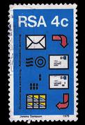 south africa postage stamp automated post sorting 1975 - stock illustration
