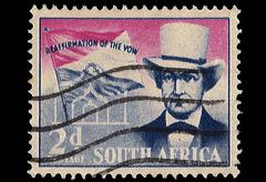 south africa postage stamp andries pretorius reaffirmation of vow 1955 - stock illustration