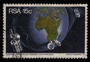 South africa postage stamp satellite communication 1975 Stock Illustration