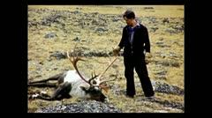 British Columbia freshly shot caribou 1939 Stock Footage