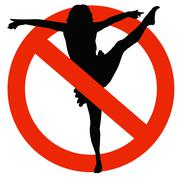 Dancer silhouette on traffic prohibition sign Stock Illustration