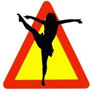 Dancer silhouette on traffic warning sign Stock Illustration