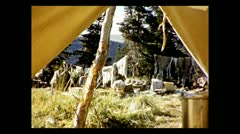 British Columbia looking out of tent 1939 Stock Footage