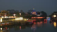 Nanjing Confucius Temple (Fuzimiao),Qinhuai River in twilight, Channel,China Stock Footage
