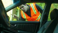 Road worker side road Stock Footage