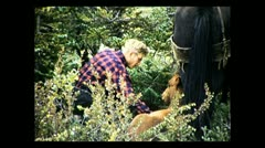 British Columbia petting a foal 1939 Stock Footage