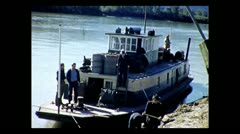 British Columbia river boat tied up at customs on the Stikine River 1939 Stock Footage