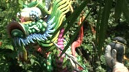 Stock Video Footage of Colorful Dragon statue
