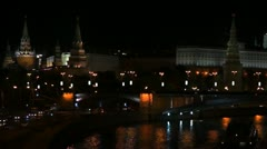 Moscow Kremlin at night Stock Footage