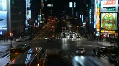 Shinjuku Neon Sign Street, Shopping Area in Tokyo, Japan, Night Traffic Crowds Stock Footage