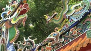 Stock Video Footage of Colorful Dragon and  bird statue