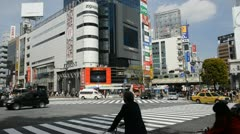 Car Passing Train Traffic Jam Popular Place Rush Hour Tokyo Shibuya Crossing Day Stock Footage
