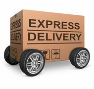 Express delivery cardboard box Stock Photos